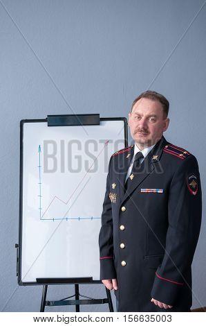 Man In Police Uniform Standing Near Whiteboard  Мужчина в полицейской форме стоит возле маркерной до