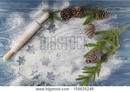 The Outlines Of Christmas Stars On The Scattered Flour. Bright Background, White Flour. Figures From