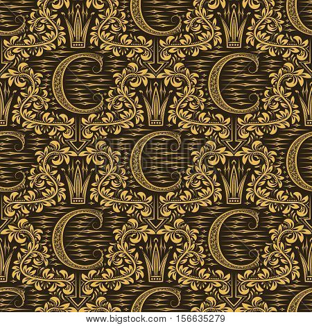 Damask seamless pattern repeating background. Gold brown floral ornament with C letter and crown in baroque style. Antique golden repeatable wallpaper.