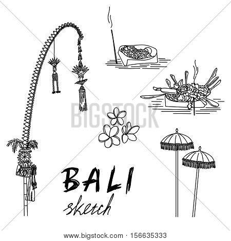 Bali sketch. Penjor for Galungan, ceremonial umbrellas, ceremonial box, frangipani. Religious ceremony, traditional holiday flora EPS10
