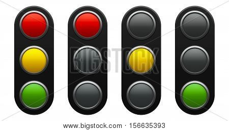 Traffic light schematic - red yellow green - isolated on white background three-dimensional rendering 3D illustration