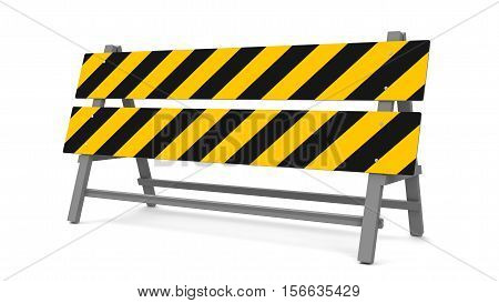 Repair barrier on a white background represents work in progress three-dimensional rendering 3D illustration