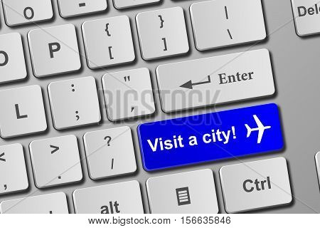Visit A City Blue Keyboard Button
