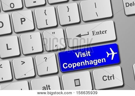 Visit Copenhagen Blue Keyboard Button