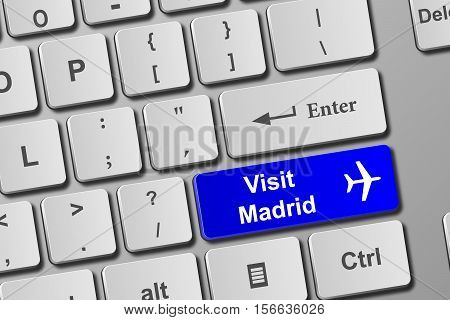 Visit Madrid Blue Keyboard Button