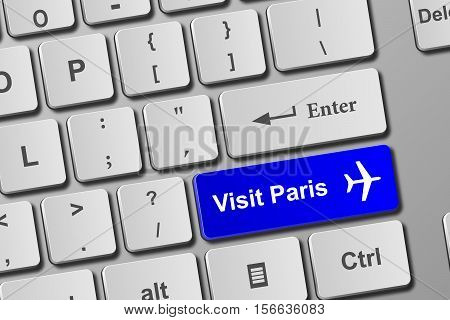 Visit Paris Blue Keyboard Button
