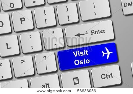 Visit Oslo Blue Keyboard Button