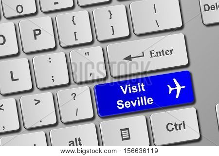 Visit Seville Blue Keyboard Button