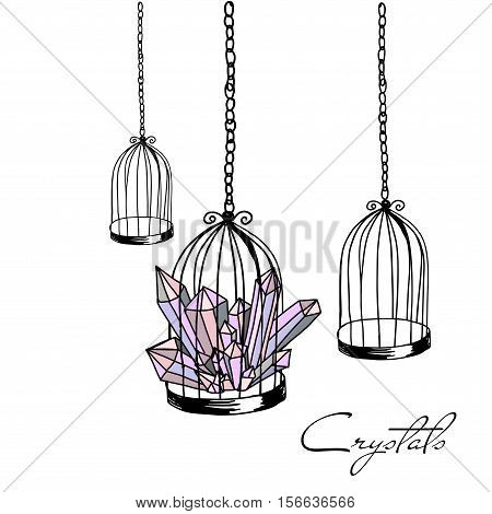 Illustration hand drawn birds cage empty group and mineral
