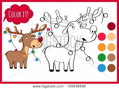 Coloring book page, deer, new year, Christmas. Sketch and color version