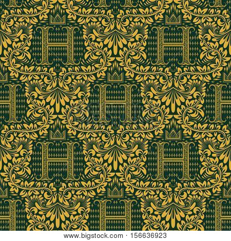 Damask seamless pattern repeating background. Golden green floral ornament with H letter and crown in baroque style. Antique golden repeatable wallpaper.