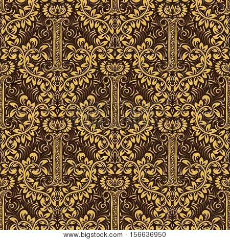 Damask seamless pattern repeating background. Golden brown floral ornament with I letter and crown in baroque style. Antique golden repeatable wallpaper.