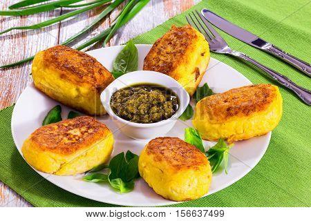 Delicious Italian Potato Pancakes From Mashed Potato With Sauce Pesto