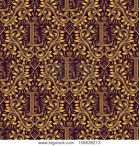 Damask seamless pattern repeating background. Golden purple floral ornament with L letter and crown in baroque style. Antique golden repeatable wallpaper.