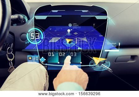 transport, driving, technology, navigation and people concept - close up of male hand using gps navigator application on car computer