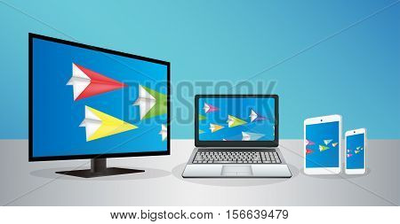 Smart Television Laptop Smartphone And Tablet transfering data