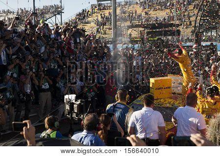Avondale, AZ - Nov 13, 2016: Joey Logano (22) wins the Can-Am 500(k) at the Phoenix International Raceway in Avondale, AZ.