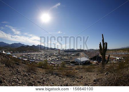 Avondale, AZ - Nov 13, 2016: Fans sit on Rattlesnake Hill during  the Can-Am 500(k) at the Phoenix International Raceway in Avondale, AZ.