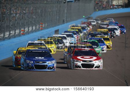 Avondale, AZ - Nov 13, 2016: Kyle Larson (42) and Alex Bowman (88) takes the green flag for the Can-Am 500(k) at the Phoenix International Raceway in Avondale, AZ.