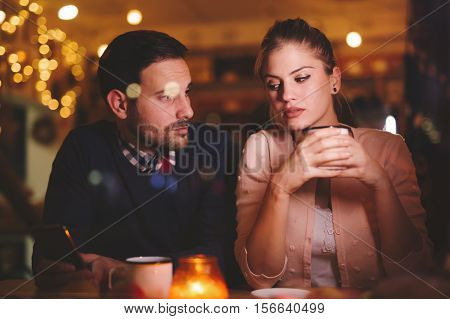 Sad couple having a conflict and relationship problems
