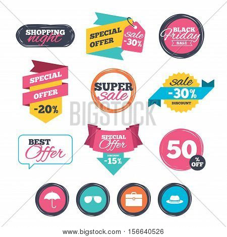 Sale stickers, online shopping. Clothing accessories icons. Umbrella and sunglasses signs. Headdress hat with business case symbols. Website badges. Black friday. Vector