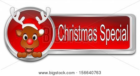 decorative red Christmas Special button - 3D illustration