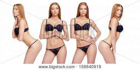 Collage, four sexy women. Happy young blonde models posing in underwear over white background