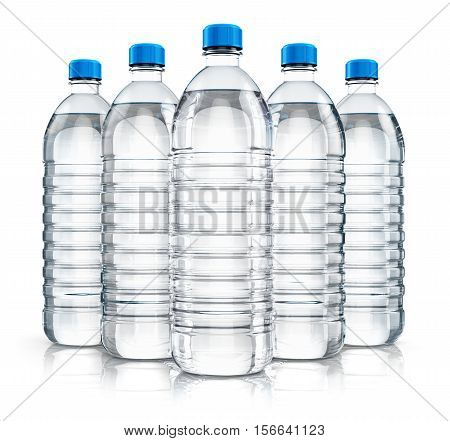 3D render illustration of the group of five plastic bottles with clear purified drink carbonated water isolated on white background with reflection effect