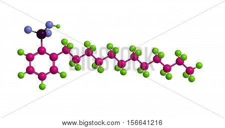 Molecular structure of Sodium dodecylbenzenesulfonate - important surfactant and detergent 3D rendering