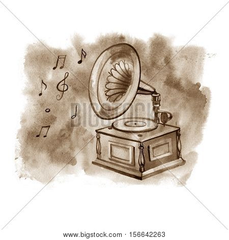 Vintage Gramophone, Record player. Background sketch the gramophone, the vinyl records player.