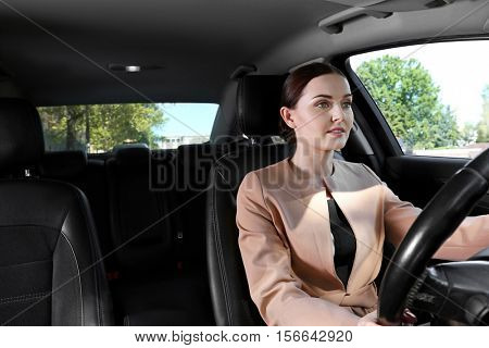 Beautiful woman driving a car