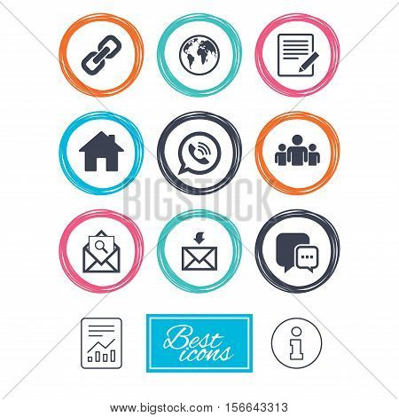 Communication icons. Contact, mail signs. E-mail, call phone and group symbols. Report document, information icons. Vector