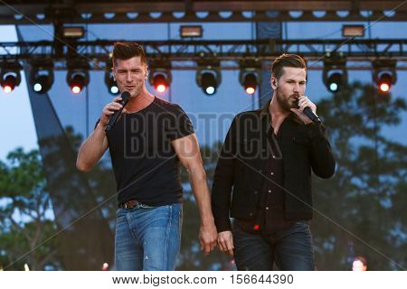 LAKE WALES, FL-NOV 5: Brad Rempel (L) and Curtis Rempel of High Valley perform at the CountryFlo Music and Camping Festival on November 5, 2016 in Lake Wales, Florida.