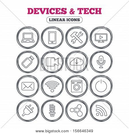 Devices and technologies icons. Notebook, smartphone and wi-fi symbols. Usb flash, video camera, microphone thin outline signs. Washing machine, fluorescent lamp and electric plug. Vector