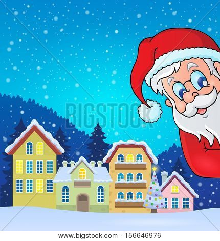 Winter village with lurking Santa Claus - eps10 vector illustration.