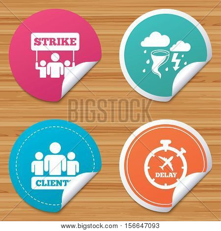 Round stickers or website banners. Strike icon. Storm bad weather and group of people signs. Delayed flight symbol. Circle badges with bended corner. Vector