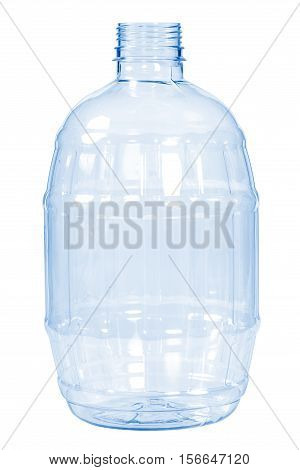 New, Clean, Empty Plastic Bottle Blue Color On White Background
