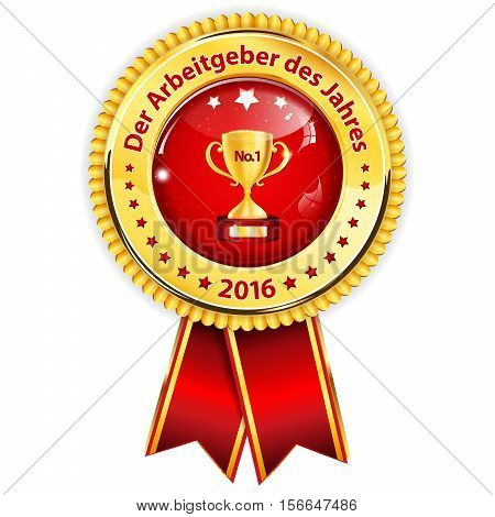 Best Employer of the year (German language: Der Arbeitgeber des Jahres) - business elegant icon / ribbon award distinction for companies.