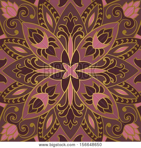 Oriental lilac pattern of mandala. Vector rich ornament with floral elements. Template for textile carpet shawl.