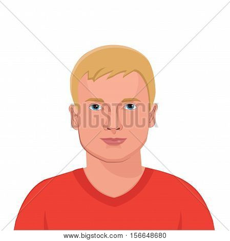 The Peoples Of The World. The Appearance Of The Peoples Of The World. Society And People. The Variety And Beauty Of The People. European Blonde Man Portrait Vector. Man's Head Isolated On White.