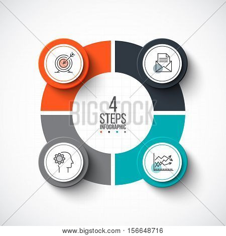 Vector infographic design template. Business concept with 4 options, parts, steps or processes. Can be used for workflow layout, diagram, number options, web design. Linear icons.