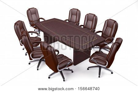 Boardroom Office Conference Table and Chairs isolated on white. 3d rendering