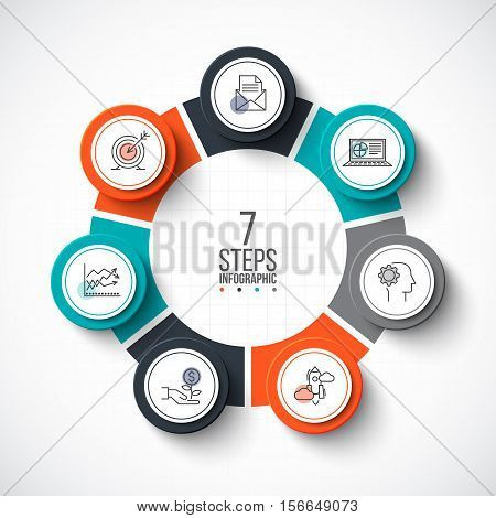 Vector infographic design template. Business concept with 7 options, parts, steps or processes. Can be used for workflow layout, diagram, number options, web design. Linear icons.