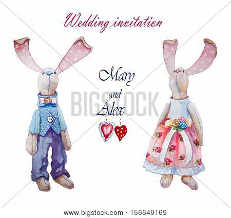 Cute bunny rabbit. Valentines day card. Valentines day card. Watercolor bunny rabbit illustration. Valentine heart. Greeting card for wedding day. Love you.