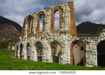 The Roman theater of Gubbio is the chief relic of the ancient town. (Umbria, Italy). Horizontally