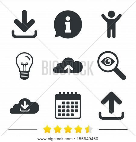 Download now icon. Upload from cloud symbols. Receive data from a remote storage signs. Information, light bulb and calendar icons. Investigate magnifier. Vector