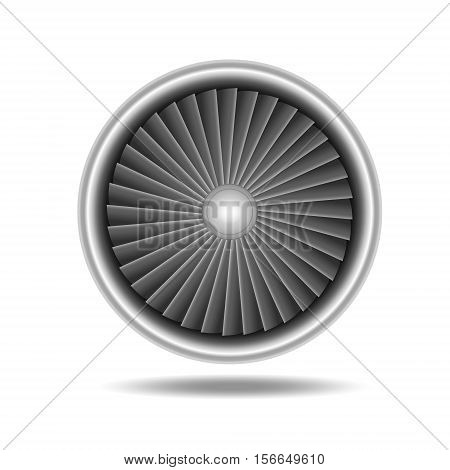 Jet Engine Turbine. Detailed on Airplane Motor Front View. Vector illustration