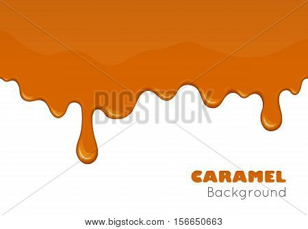 Caramel is flowing down. Banner background with sweet brown sugar sauce liquid candy or honey flowing. Sticky shiny yellow splash. Abstract design element. Vector illustration isolated on white.