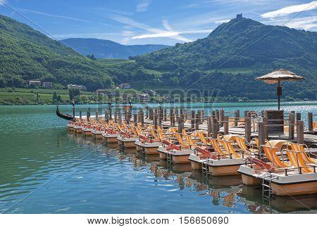 at Lake Caldaro in South Tirol near Merano,Dolomites,Italy