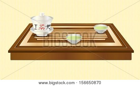 Tea ceremony. Carved wooden tea tray, gaiwan and two chinese traditional porcelain cups with green tea. Tea ceremony. Yellow ethnic background. Vector EPS10 realistic illustration.